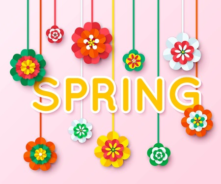 multicolored: Spring Background with multicolored cutout paper flowers hanging on thread. Spring Vector Flowers. Spring Flowers Banner. Flowers Isolated. Floral Design Element. Vector Illustration. Illustration
