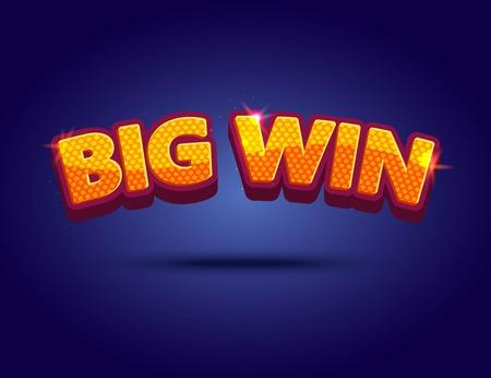 Big Win banner  for online casino, poker, roulette, slot machines, card games. Vector illustrator. Illustration
