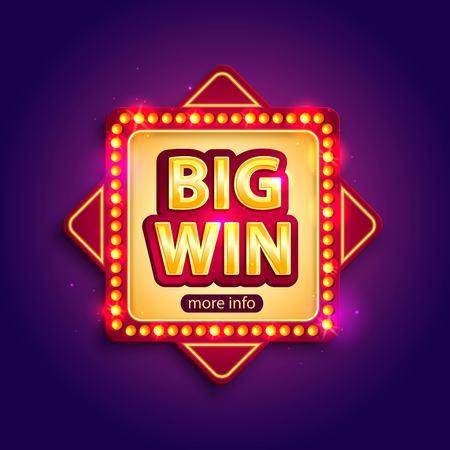 La grande bandiera Win con lampade incandescenti per casinò online, poker, roulette, slot machine, giochi di carte. Illustratore vettoriale. Vettoriali