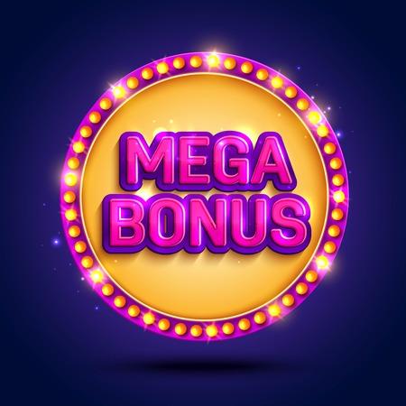 sfondo grande vittoria con lampade incandescenti per casinò online, poker, roulette, slot machine, giochi di carte. Illustratore vettoriale.