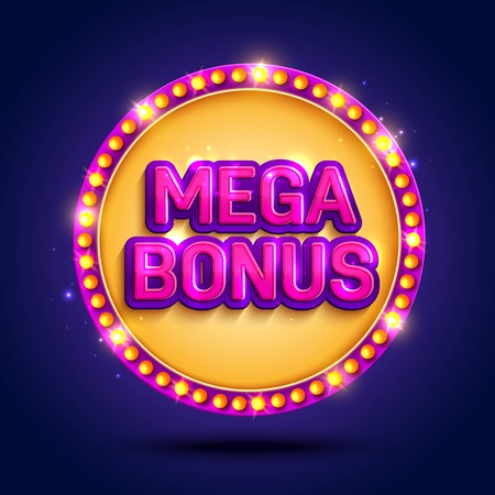 Big Win background with glowing lamps for online casino, poker, roulette, slot machines, card games. Vector illustrator. Vettoriali
