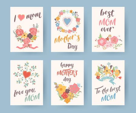 Set of vintage mothers day greeting card. Mothers Day floral background. Vector illustrator.