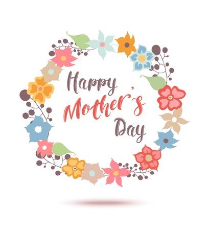 幸せな母の日の花のグリーティング カード。ベクトルのイラストレーター。