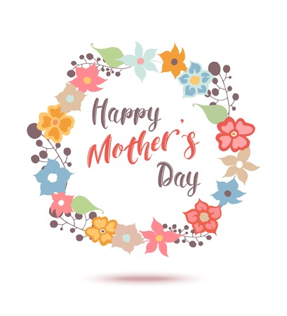 Happy Mothers Day flowers greeting card. Vector illustrator.