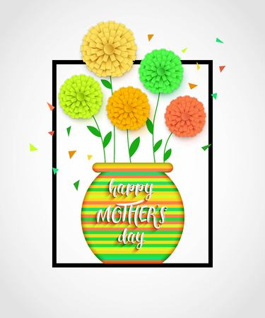 mothers day background: Mothers Day background with pot of flowers. Flowerpot isolated. Happy Mothers Day floral greeting card. Vector illustrator.