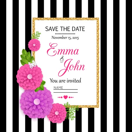 hand knot: Save the date cards with paper flowers and gold frame. Marriage invitation card. Wedding invitation card. Vector illustration.