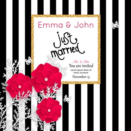 old writing: Save the date cards with paper flowers and gold frame. Just married. Marriage invitation card. Wedding invitation card. Vector illustration.