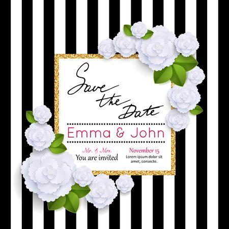 Save the date kaarten met papieren bloemen en gouden frame. Huwelijk uitnodigingskaart. Bruiloft uitnodiging kaart. Vector illustratie. Stock Illustratie
