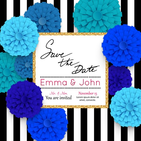 nuptial: Save the date cards with paper flowers and gold frame. Marriage invitation card. Wedding invitation card. Vector illustration.