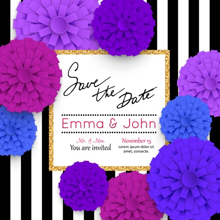 flower banner: Save the date cards with paper flowers and gold frame. Marriage invitation card. Wedding invitation card. Vector illustration.
