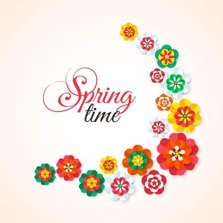 Temps de printemps. Printemps fleurs multicolores en papier découpé. Fond de fleurs de printemps. Fleurs de vecteur de printemps. Fête des fleurs de printemps. Fleurs isolées. Élément de conception florale. Illustration vectorielle.