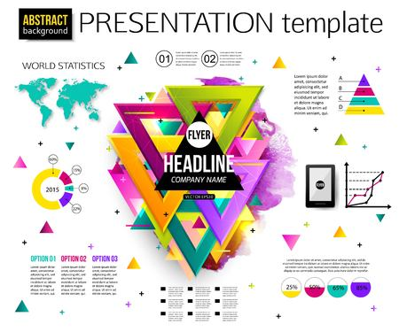 Infographic presentation template, colorful geometric triangular design with watercolor drops. Business Infographic with charts and graphs. Business elements, world map, graphics. Vector illustration. Illustration