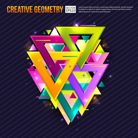 myst: Abstract background with triangles and light effects. Creative geometry. Vector illustration. Illustration