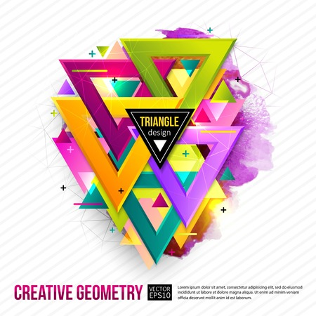 objects: Abstract background with triangles and light effects. Vector illustration.