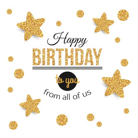 Birthday background with gold stars, polka dots. Birthday - gold text.Happy Birthday template for banner, flyer, brochure, gift certificate, party invitation. Birthday card. Vector illustration. Vettoriali
