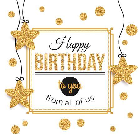 Fondo de cumpleaños con estrellas doradas, lunares. Cumpleaños - oro plantilla text.Happy de cumpleaños para la bandera, volante, un folleto, certificado de regalo, invitación del partido. Tarjeta de cumpleaños. Ilustración del vector. Ilustración de vector