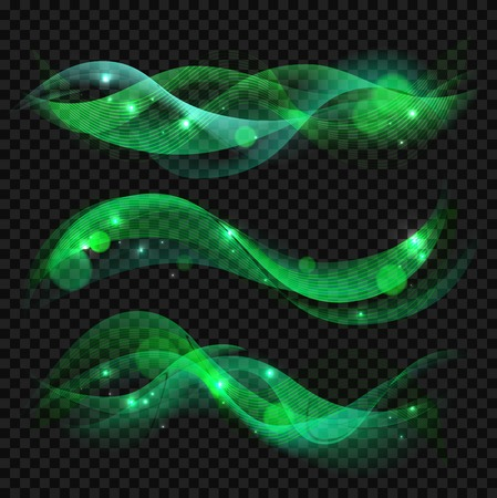 green smoke: Abstract background with waves and lines. Shiny waves vector set on transparent background. Waves banner template. Green waves background with bokeh. Green smoke. Vector illustration.
