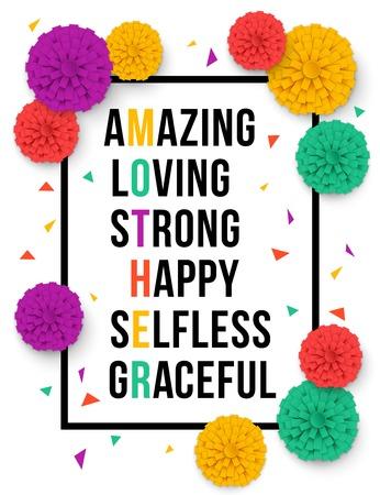 Happy Mothers Day Blumen Grußkarte. Muttertag bacground mit Papierblumen. Vector Illustrator. Standard-Bild - 55947470