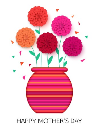 original idea: Original idea of Mothers Day - background with pot of flowers. Flowerpot isolated. Happy Mothers Day floral greeting card. Vector illustrator.