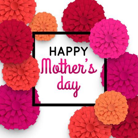 Feliz tarjeta de felicitación floral del día de madres. Día de la Madre Fundamentos con flores de papel. Vector ilustrador.