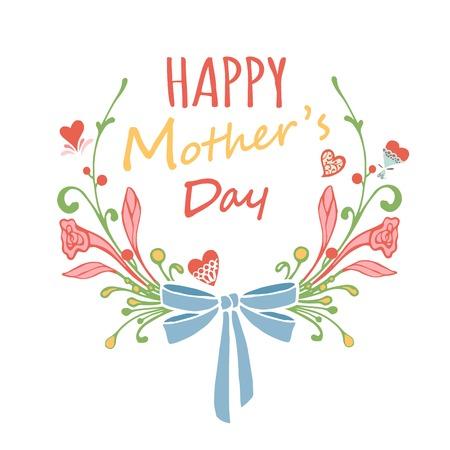 幸せな母の日花グリーティング カード。ベクトルのイラストレーター。  イラスト・ベクター素材
