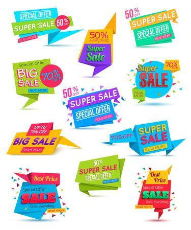 blank banner: Set Paper Banner. Paper Banner Template. Super Sale Special Offer banner on colorful background.  Web banner. Banner vector. Big Sale banner. Web banner template. Shopping Banner. 50% off. 70%. Illustration