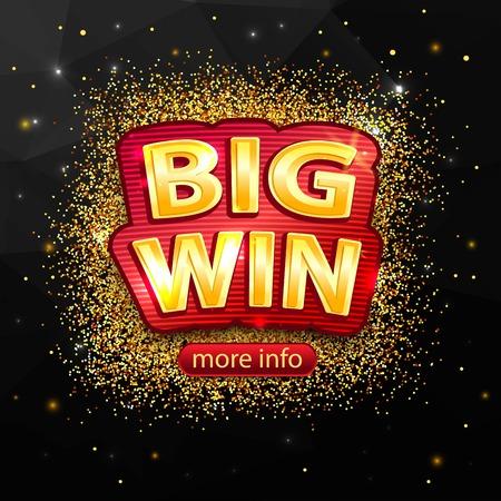 tragamonedas: fondo de ganar en grande para el casino en línea, poker, ruleta, máquinas tragamonedas, juegos de cartas. Bandera grande de victorias.
