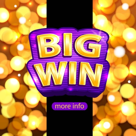 Big Win background for online casino, poker, roulette, slot machines, card games. Big Win banner. Ilustração