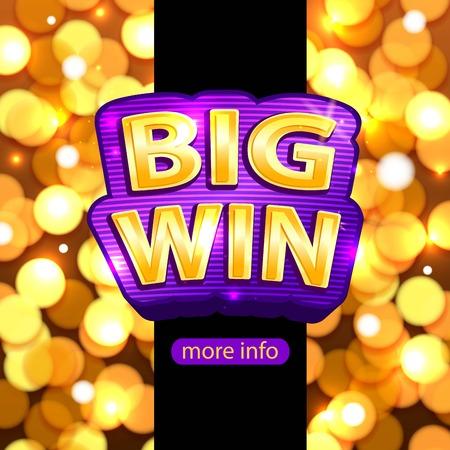 Big Win background for online casino, poker, roulette, slot machines, card games. Big Win banner. Illustration