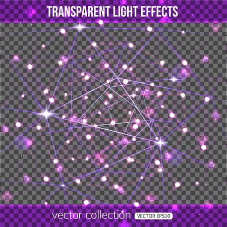 ordenanza: Abstract constellation with lights effect over transparent background. Vector transparent constellation. Vector illustration. Vectores