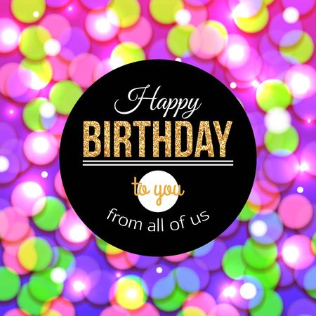 glorification: Happy Birthday background with bokeh defocused lights. Birthday template for banner, poster, flyer.