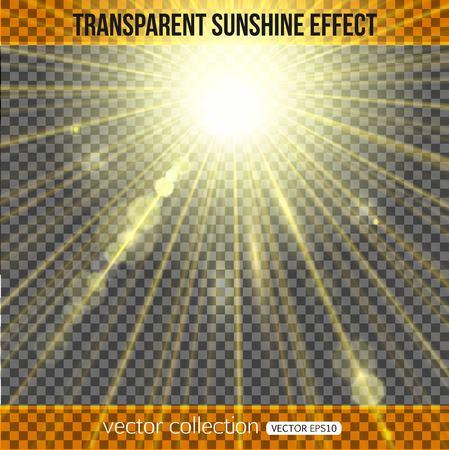 Sonnenschein-Effekt über transparentem Hintergrund. Sonnenlicht Hintergrund. Vektor-Illustration mit Sonnenschein. Vektorgrafik