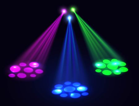 disco: Club lights background. Vector spotlights  effect over dark background. Lights effect for disco, party, birthday, club background.