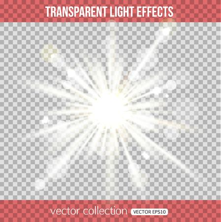 Abstract star burst with bokeh. Vector star shape. Glow light effect. White glowing light over transparent background. Vector illustration