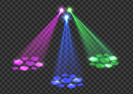 club scene: Concert light over transparent background. Abstract scene with red, green, blue lights for disco, party, club, concert. Vector concert spotlights.
