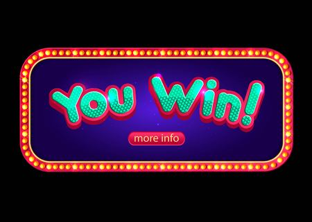 win: You Win banner for online casino, poker, roulette, slot machines, card games.