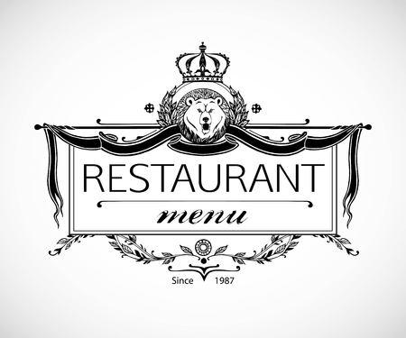 Monogram design for Restaurant. Luxury Logo template for Restaurant. Vintage frame template. Vector illustration.