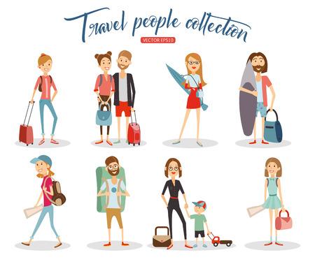 voyage: les gens de voyage de collecte de bande dessinée, vacances gens isolé sur fond blanc.