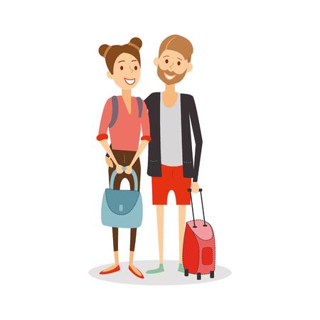 Małżeństwo w podróży. Młode szczęśliwe nowożeńcy wyjeżdżają na wakacje, kreskówka osób podróżujących izolowane