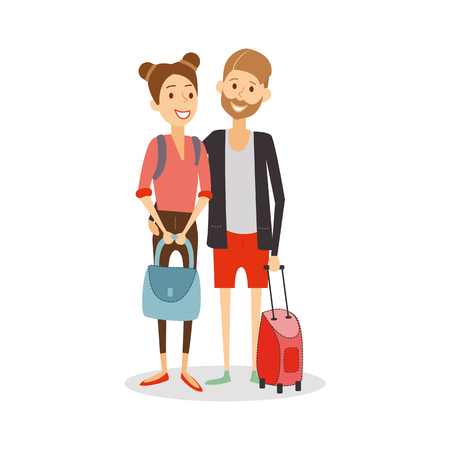 Married couple on journey. Young happy newlyweds go on vacation, travel people cartoon isolated