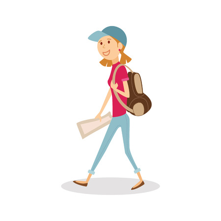 Young happy woman traveler with backpack and map. Girl isolated cartoon journey. Woman on vacation.