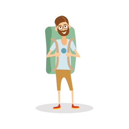 trekker: Man hipster tourist with backpack ready to travel. Man traveler isolated cartoon Illustration