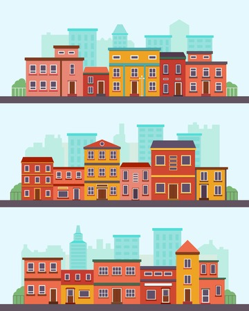 residential building: Central street. Flat design urban landscape with city houses. Illustration
