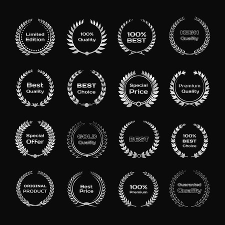 Set van zilver metallic lauwerkrans of frame. Laurierblad symbool van de overwinning, kampioenschap, succes en prestatie.
