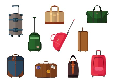 Different types of baggage carry-on luggage, bags, suitcases isolated. Set of vector travel baggage icons