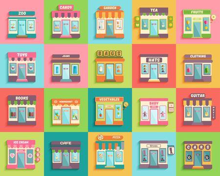 Diferentes tiendas y tiendas iconos conjunto de estilos diseño plano. Zoológico, juguetes, bebé, minimarket y cabina de guitarra.