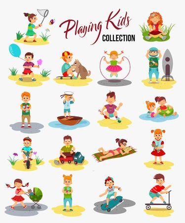 i bambini di gioco di vettore isolati. bambini del fumetto, ragazzo guida una bicicletta, in possesso di un pallone e giocare con la palla. Ragazza cattura una farfalla, mangiare il gelato e giocare con orsacchiotto. Vettoriali