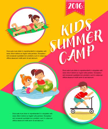 campamento: Niños del cartel campamento de verano. Los niños que juegan el ejemplo del vector.