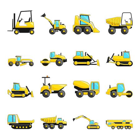 compactor: Set of construction machinery isolated flat icons, Illustration
