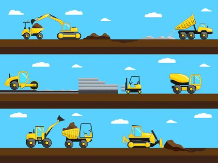 dredger: Construction process. Bulldozer, truck and excavator on a construction site.